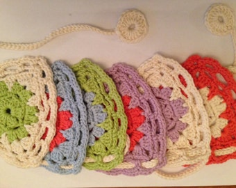 Crochet Garland. Colour Me Happy Bunting. Flag shaped garland.