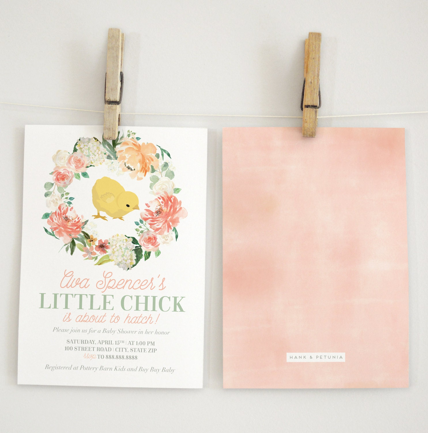 Spring Baby Shower Invitation, Little Chick Baby Shower Invitation ...