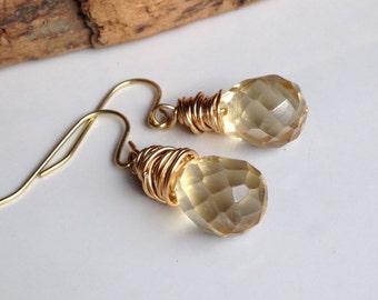 Lemon Quartz Earrings, Yellow Quartz, Faceted Briolette Earrings, Brass Wire Wrapped Earrings, Dangle Earrings, Drop Earrings