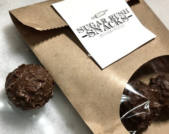Chocolate Ganache Truffles • FATHERS DAY GIFT • Homemade, Hand-rolled, Bite-Sized Snack • Rich Dark Chocolate