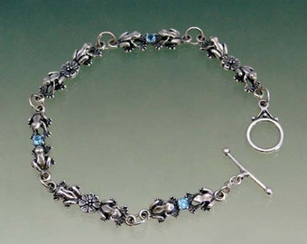 Frog Flower Stone Link Bracelet  with Blue Topaz or Other Stone