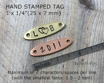 Hand Stamped Copper Tag, Personalized Metal ID Tag, Name Tag, Sew On Metal Label, Nail On Tag, Picture Frame Metal Tag, Custom Branding Tag