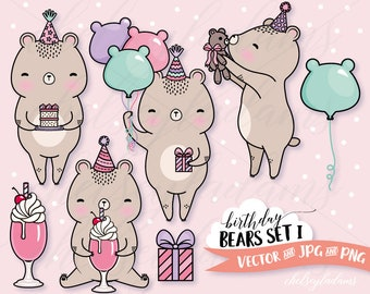 Birthday Clipart Set, Bears Vector Clip Art, Kawaii Graphics Instant Download, Commercial Use, Girls Birthday Party Invitations, Milkshake