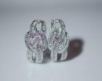 14K White Gold Braided Style Baguette Diamond Earrings