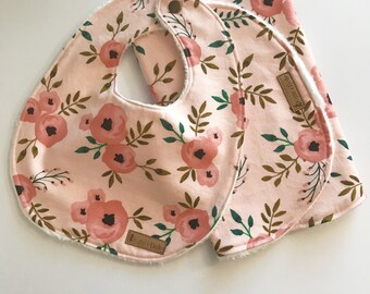 Baby Gift Set Bib and Burb Cloth Set Baby Girl Baby Shower gift Blush Watercolor Flower set