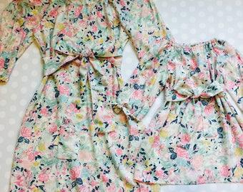 Mother Daughter Dresses - Matching Mother Daughter Dresses -  Floral Dress - Open Sleeve Dress - peekaboo sleeves - Flowy Dress - Easter