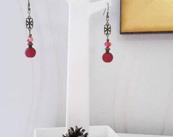 Earrings Bronze red Retro - 004