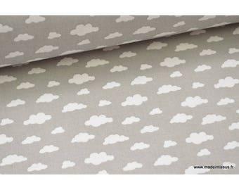 Tissu 100%coton dessin nuages blancs sur fond gris .x1m