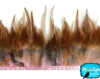 Rooster Feathers, 1 yard - DYED BABY PINK and Red Rooster Saddle Feathers Trim : 3635