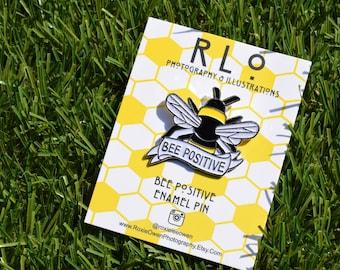 Bee Positive Soft Enamel Pin - Glitter - Glitter Wings- Bee Pin - Gift - Bee Badge - Label Pin - Positive Pin - Mental Health Pin