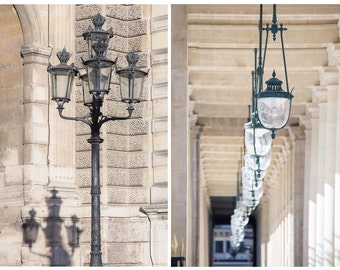Paris Photography Set - Street Lights in Neutral Tones, French Fine Art Photographs, Urban Wall Decor, Large Wall Art, Gallery Wall Art