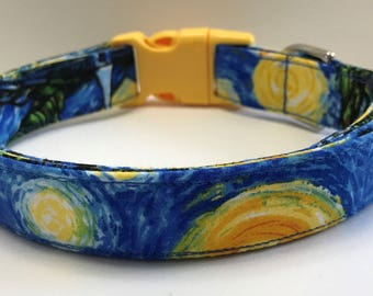 Starry Nights Van Gogh  Art Lovers Dog Collar Size XS, S, M or L