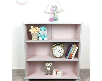 SOLD Pink and grey wooden bookcase, children's bookcase, children's bookshelf, children's book storage, bespoke children's furniture