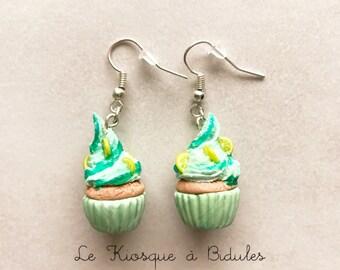 Boucles d'oreilles - Cupcake citron en fimo