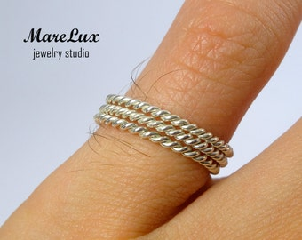 Set of 3 Very Thin Braided Stacking Silver Rings, Super Skinny Rings, Tiny Stacking Rope Rings, Little Stackable Rings, Dainty Rings