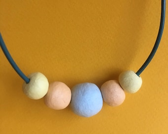 Bright Necklace with Clay Beads