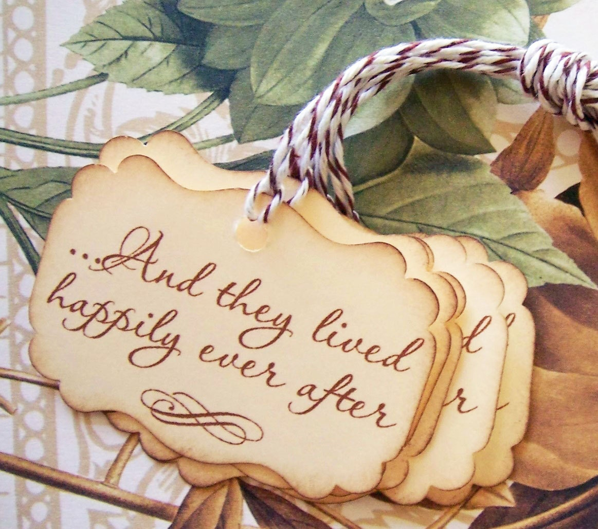 Wedding Wishes After Wedding: Wedding Tags Vintage Style Happily Ever After Wish Tree Favor