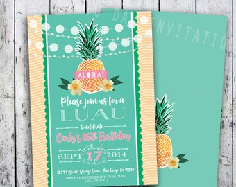 Luau Invitation Birthday Party - DIGITAL or PRINTED - Bridal/Baby shower, Retirement, engagement, surprise Thank You Note Download INCLUDED