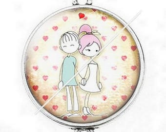 Large silver cabochon connector love couple Valentine's day 1
