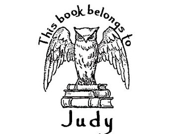 owl book plate ex libris custom Rubber Stamp