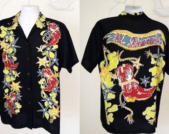 Vintage Rayon 90s Men's Shirt 1990s Country Western Sequin Hipster Vegas Guayabera Southwest Southwestern Southwest Cowboy Boots El Dorado