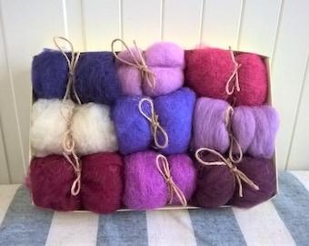 Kit for Wool for Felting in Ultraviolet - Wool Roving Supply - Needle Felting Wool - Wet Felting - Spinning Wool - Wool for Felt Balls DIY