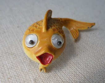 Cute Goldfish Pin, Vintage 1970's Jonette Jewelry, Yellow Enamel with Moving Eyes, Googly Eyes