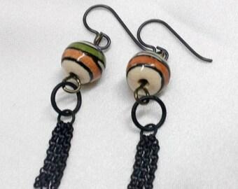 SALE EXTENDED EARRINGS Ceramic Bead Black Chain
