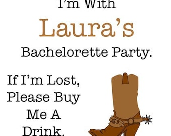 Cowgirl Bachelorette Tattoos - Bachelorette Party Temporary Tattoos - Cowboy Boots - If I'm Lost, Please Buy Me A Drink