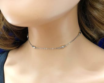 Sterling silver CHOKER Chain Necklace - Oval Bead Choker - Rhodium Plated -  Will not Tarnish!