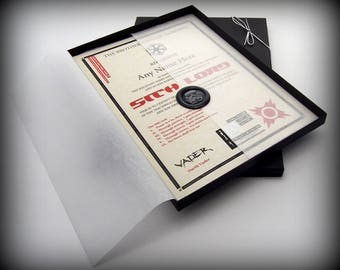 Deluxe Sith Lord Certificate in a Luxury Gift Box - Personalised with the name of your choice