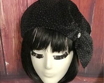 Velvet Black Beret Hat bow