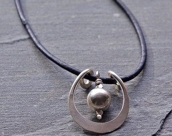 women's leather necklace, Boho Necklace, Horseshoe Necklace, Silver Pendant on Leather Cord, Silver and Leather Necklace, Gift for Her
