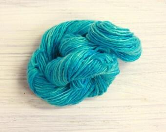 Worm Goo Silk Thread Mini Skein Hand Dyed Turquoise