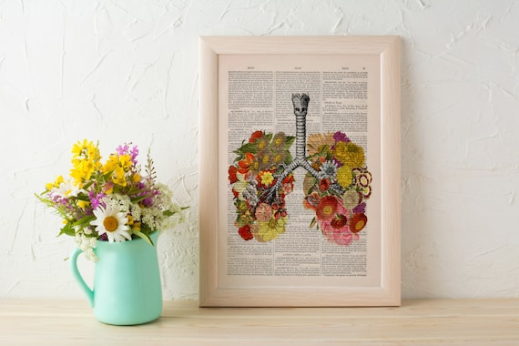 Flowery Lungs human Anatomy Print on dictionary. Anatomy art, love art, human science  anatomy art, wall decor SKA062