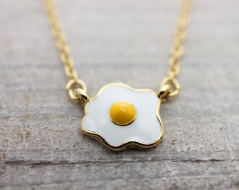 """Fried egg gold necklace with a 2"""" extension chain"""