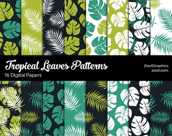 Tropical Leaves Patterns, 16 Digital Papers 12x12, Photoshop Pattern File PAT Included, Seamless, Commercial Use, INSTANT DOWNLOAD