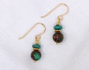 Sponge Quartz and Turquoise Earrings