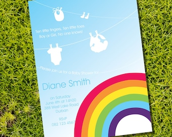 Colorful Rainbow Baby Shower Invitation for a Boy or Girl - Instantly Downloadable and Editable File - Personalize at home with Adobe Reader