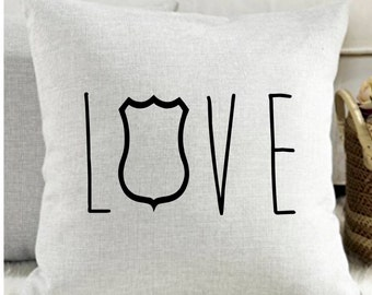 Police love pillow cover, Cop love pillow, Thin blue line, 18X18 decorative pillow, Police wife gift, Love pillow