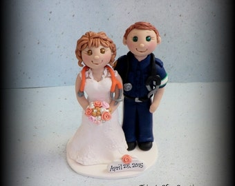 Wedding Cake Topper, Custom Cake Topper, Nurse, Paramedic, Bride and Groom, Polymer Clay, Personalized, Keepsake