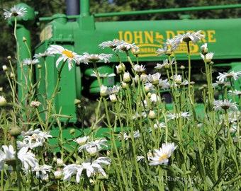 Tractor Photo - John Deere Photography - Green - Flower Photography print -Fine Art Photography -  Wall Art -John Deere Green