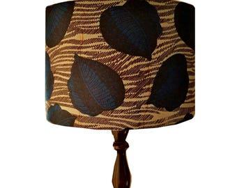 African wax print lampshade fathers day gift idea 30cm african botanical lamp shade dark blue black leaves ankara lamp shade african home decor woodland nursery decor detolaandgeek aloadofball Images