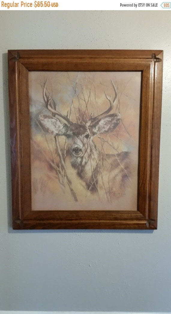 Delayed Shipping The Silent Buck Homco Framed Deer Print by Artist K. Vintage Deer Print Wild Buck Art Wall Hanging Wall Decor Man Cave Deco
