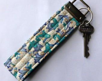 Fob for keys, key fob, key ring, fabric key fob, fabric key ring, key chain, key bracelet, fob wristlet, , floral key fob, gym badge holder