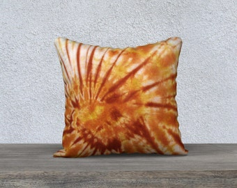 Outdoor Tie Dye Throw Pillow- Orange Gold Maroon-Weather-resistent-UV coating-Square Rectangle-14x20, 16x16, 18x18, 20x20