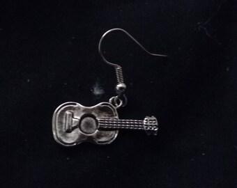Guitar Earring, Rock Star Earring, Guitar Jewelry, Nickle Free, Silver Plated, Guitar Earring, Country Western Guitar Earring, Mens Earring