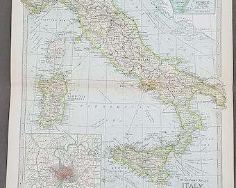 Vintage florence map etsy italy mapflorence milan alia corsica sardinia venice rome sicily naplesvintage atlas map gumiabroncs Gallery