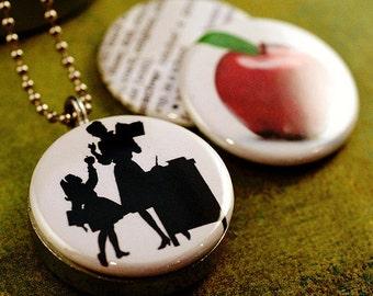Teacher Necklace •  Teacher Gift •  Teacher Appreciation •  Teacher Jewelry •  Graduation Gift •  End of Year •  Teacher Locket •  Recycled