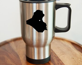 Iraq Stainless Steel Travel Mug. Hometown, Custom, Coffee, Stainless Steel, Mug